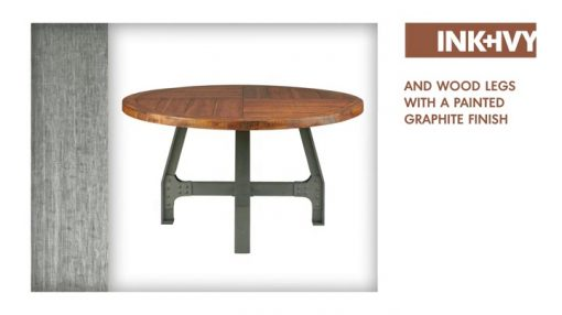 InkIvy Lancaster Round Dining Table Solid Wood Metal Base Dining Room Table Amber Wood Industrial Style Kitchen Table 1 Piece Metal Frame Wooden Top Round Table For Dining Room 0 3 510x286