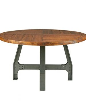 InkIvy Lancaster Round Dining Table Solid Wood Metal Base Dining Room Table Amber Wood Industrial Style Kitchen Table 1 Piece Metal Frame Wooden Top Round Table For Dining Room 0 300x360