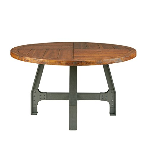 InkIvy Lancaster Round Dining Table Solid Wood Metal Base Dining Room Table Amber Wood Industrial Style Kitchen Table 1 Piece Metal Frame Wooden Top Round Table For Dining Room 0