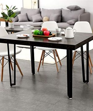 Ivinta Alacrity 472 Rustic Modern Farmhouse Matte Black Metal Rectangle Kitchen And Dining Room Table Mid Century Industrial 0 300x360
