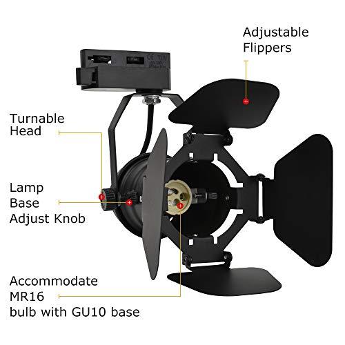 JLUMI TRK9601 LED Track Light Head Vintage Industrial Track Light Line Voltage Track Head For Art And Wall Decoration 5W LED Spotlight Bulb Included Adjustable Title Angle Black 0 2