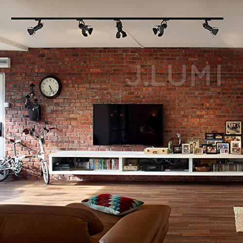JLUMI TRK9601 LED Track Light Head Vintage Industrial Track Light Line Voltage Track Head For Art And Wall Decoration 5W LED Spotlight Bulb Included Adjustable Title Angle Black 0 3