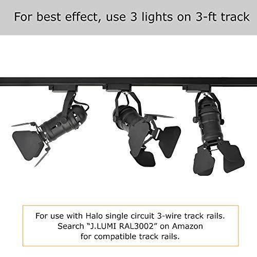 JLUMI TRK9601 LED Track Light Head Vintage Industrial Track Light Line Voltage Track Head For Art And Wall Decoration 5W LED Spotlight Bulb Included Adjustable Title Angle Black 0 4