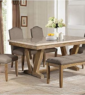 Jackhym Rustic Modern 6PC Dining Set Faux Marble Top Table 4 Chair Bench In Weather Wood 0 0 300x333