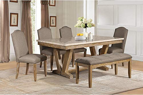 Jackhym Rustic Modern 6PC Dining Set Faux Marble Top Table 4 Chair Bench In Weather Wood 0 0