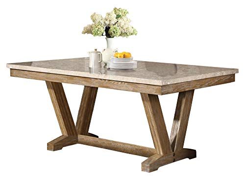 Jackhym Rustic Modern 6PC Dining Set Faux Marble Top Table 4 Chair Bench In Weather Wood 0 1