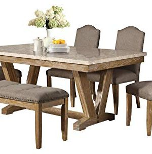 Jackhym Rustic Modern 6PC Dining Set Faux Marble Top Table 4 Chair Bench In Weather Wood 0 300x304