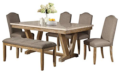 Jackhym Rustic Modern 6PC Dining Set Faux Marble Top Table 4 Chair Bench In Weather Wood 0