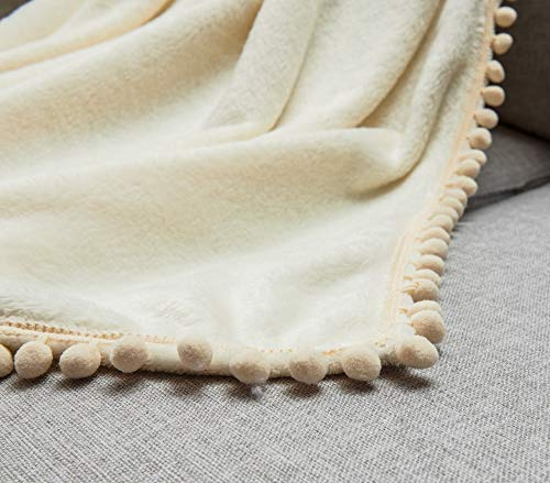 Janzaa Throw Blanket Cozy Flannel Blanket With Pompom Tassel Soft Microfiber Bed Blanket White Fuzzy Blanket For Couch 51x63Inches 0 0
