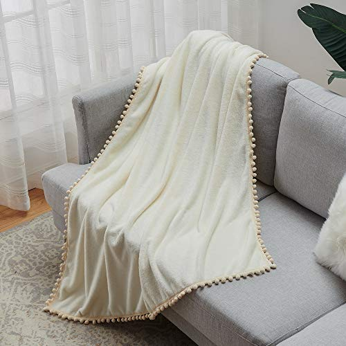 Janzaa Throw Blanket Cozy Flannel Blanket With Pompom Tassel Soft Microfiber Bed Blanket White Fuzzy Blanket For Couch 51x63Inches 0 3