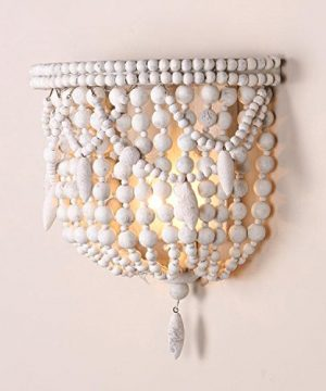 Jiuzhuo Classic Style Distressed White Wood Beaded 1 Light Decorative Indoor Wall Sconce Light 0 300x360
