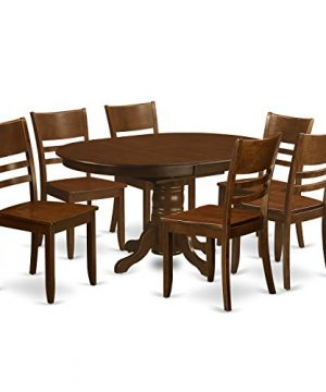KELY7 ESP W 7 Pc Kenley Dining Table With A 18 Leaf And 6 Hard Wood Kitchen Chairs In Espresso 0 300x360
