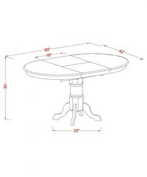 KEVA5 ESP W 5 Pc Set Kenley Dining Table With A Leaf And 4 Wood Kitchen Chairs 0 2 300x360