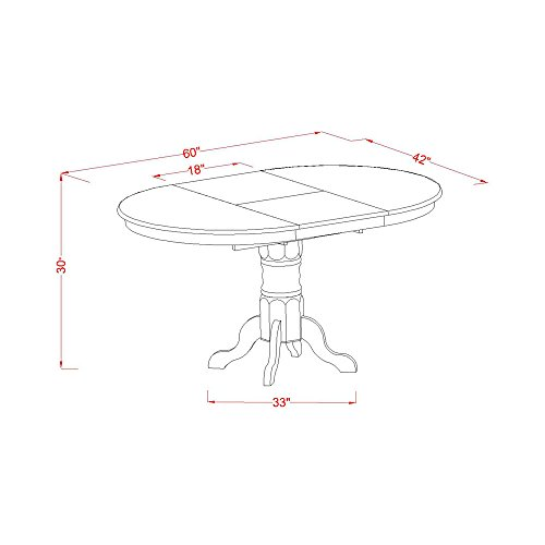 KEVA5 ESP W 5 Pc Set Kenley Dining Table With A Leaf And 4 Wood Kitchen Chairs 0 2