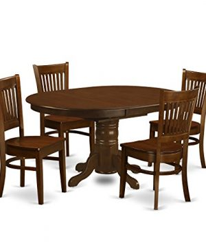 KEVA5 ESP W 5 Pc Set Kenley Dining Table With A Leaf And 4 Wood Kitchen Chairs 0 300x360