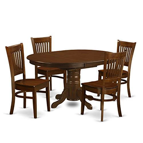 KEVA5 ESP W 5 Pc Set Kenley Dining Table With A Leaf And 4 Wood Kitchen Chairs 0