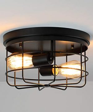 KOONTING 2 Light Industrial Metal Cage Ceiling Light E26 Rustic Semi Flush Mount Pendant Lighting Lamp Fixture Farmhouse Style For Kitchen Garage Foyer Porch Hallway Entryway Bedroom Living Room 0 1 300x360