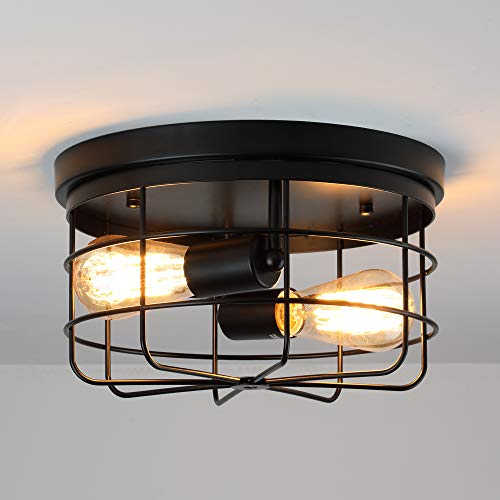 KOONTING 2 Light Industrial Metal Cage Ceiling Light E26 Rustic Semi Flush Mount Pendant Lighting Lamp Fixture Farmhouse Style For Kitchen Garage Foyer Porch Hallway Entryway Bedroom Living Room 0 1