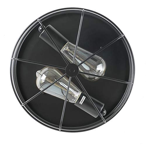 KOONTING 2 Light Industrial Metal Cage Ceiling Light E26 Rustic Semi Flush Mount Pendant Lighting Lamp Fixture Farmhouse Style For Kitchen Garage Foyer Porch Hallway Entryway Bedroom Living Room 0 3