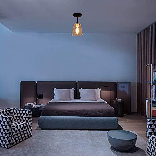 KRASTY Industrial Vintage Bedroom Living Room Semi Flush Mount Ceiling LightMatte Black Finish Ceiling Light Fixture With Seeded Glass Shade 0 3