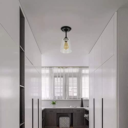 KRASTY Industrial Vintage Bedroom Living Room Semi Flush Mount Ceiling LightMatte Black Finish Ceiling Light Fixture With Seeded Glass Shade 0 4