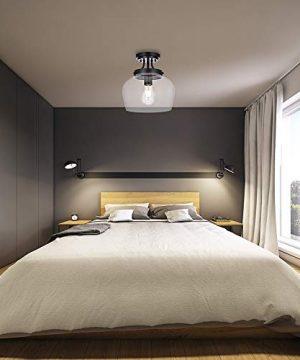 KRASTY Vintage Bedroom Living Room Semi Flush Mount Ceiling LightPaint Black Ceiling Lighting Fixture With Seeded Glass Shade 0 1 300x360