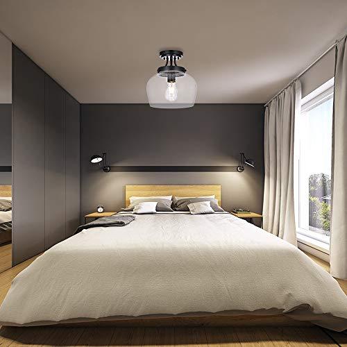 KRASTY Vintage Bedroom Living Room Semi Flush Mount Ceiling LightPaint Black Ceiling Lighting Fixture With Seeded Glass Shade 0 1