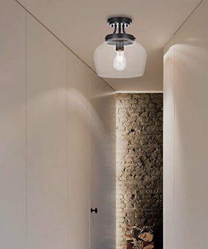 KRASTY Vintage Bedroom Living Room Semi Flush Mount Ceiling LightPaint Black Ceiling Lighting Fixture With Seeded Glass Shade 0 2 300x360
