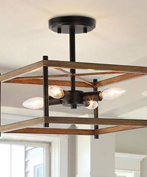 KSANA Semi Flush Mount Ceiling Light Farmhouse Light Fixtures Ceiling With Faux Wood Finish For Kitchen Dining Room W125x H12 0 300x360