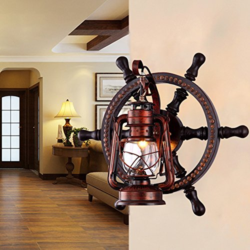 KWOKING Lighting Industrial Wall Mounted Light Creative Wood Wall Lamp Lights Sconces Fixture Nautical Style With Glass Clear Shade For Restaurant Bedroom Bar Cafe Rustic Lantern Wall Sconce 0 1