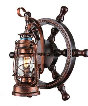 KWOKING Lighting Industrial Wall Mounted Light Creative Wood Wall Lamp Lights Sconces Fixture Nautical Style With Glass Clear Shade For Restaurant Bedroom Bar Cafe Rustic Lantern Wall Sconce 0 300x360