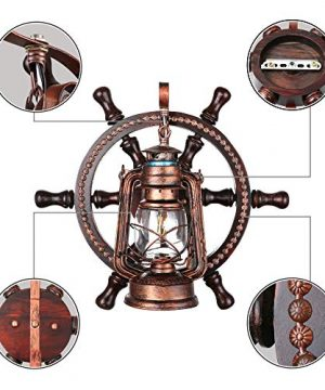 KWOKING Lighting Industrial Wall Mounted Light Creative Wood Wall Lamp Lights Sconces Fixture Nautical Style With Glass Clear Shade For Restaurant Bedroom Bar Cafe Rustic Lantern Wall Sconce 0 5 300x360