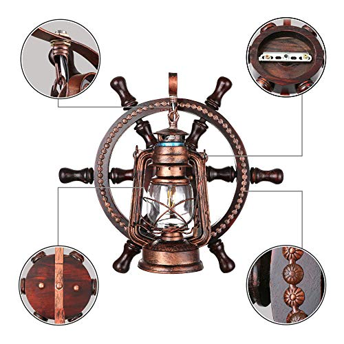 KWOKING Lighting Industrial Wall Mounted Light Creative Wood Wall Lamp Lights Sconces Fixture Nautical Style With Glass Clear Shade For Restaurant Bedroom Bar Cafe Rustic Lantern Wall Sconce 0 5