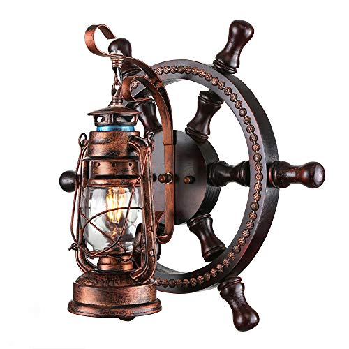 KWOKING Lighting Industrial Wall Mounted Light Creative Wood Wall Lamp Lights Sconces Fixture Nautical Style With Glass Clear Shade For Restaurant Bedroom Bar Cafe Rustic Lantern Wall Sconce 0