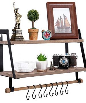 Kakivan 2 Tier Floating Shelves Wall Mount For Kitchen Spice Rack With 8 Hooks Storage Rustic Farmhouse Wood Wall Shelf For Bathroom Dcor With Towel Bar 0 0 300x360