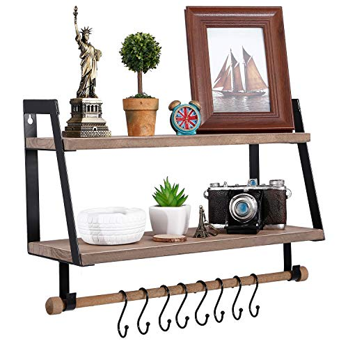 Kakivan 2 Tier Floating Shelves Wall Mount For Kitchen Spice Rack With 8 Hooks Storage Rustic Farmhouse Wood Wall Shelf For Bathroom Dcor With Towel Bar 0 0