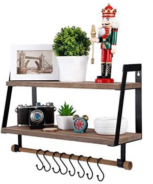 Kakivan 2 Tier Floating Shelves Wall Mount For Kitchen Spice Rack With 8 Hooks Storage Rustic Farmhouse Wood Wall Shelf For Bathroom Dcor With Towel Bar 0 1 300x360