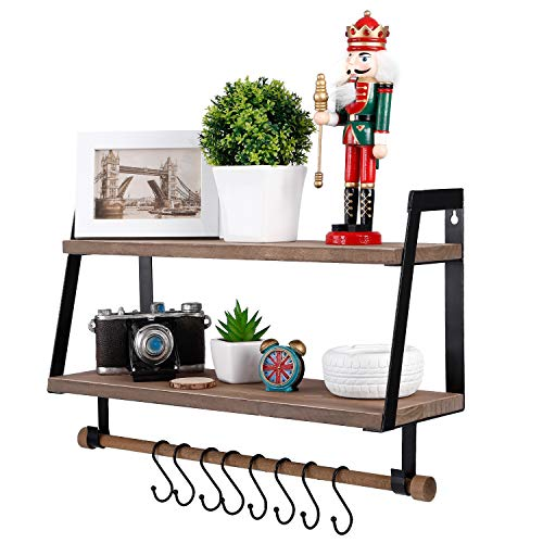 Kakivan 2 Tier Floating Shelves Wall Mount For Kitchen Spice Rack With 8 Hooks Storage Rustic Farmhouse Wood Wall Shelf For Bathroom Dcor With Towel Bar 0 1