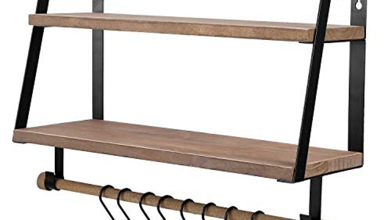 kakivan 2 tier floating shelves wall mount for kitchen spice rack with 8 hooks storage rustic farmhouse wood wall shelf for bathroom decor with towel bar