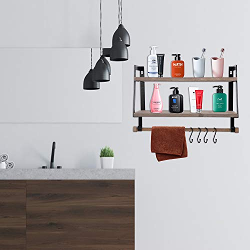 Kakivan 2 Tier Floating Shelves Wall Mount For Kitchen Spice Rack With 8 Hooks Storage Rustic Farmhouse Wood Wall Shelf For Bathroom Dcor With Towel Bar 0 3