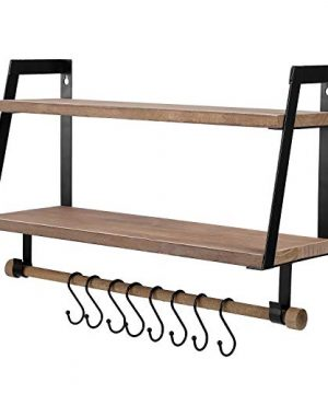 Kakivan 2 Tier Floating Shelves Wall Mount For Kitchen Spice Rack With 8 Hooks Storage Rustic Farmhouse Wood Wall Shelf For Bathroom Dcor With Towel Bar 0 300x360