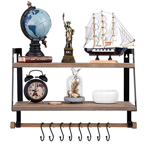 Kakivan 2 Tier Floating Shelves Wall Mount For Kitchen Spice Rack With 8 Hooks Storage Rustic Farmhouse Wood Wall Shelf For Bathroom Dcor With Towel Bar 0 4
