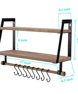 Kakivan 2 Tier Floating Shelves Wall Mount For Kitchen Spice Rack With 8 Hooks Storage Rustic Farmhouse Wood Wall Shelf For Bathroom Dcor With Towel Bar 0 5 300x360