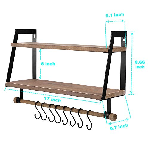Kakivan 2 Tier Floating Shelves Wall Mount For Kitchen Spice Rack With 8 Hooks Storage Rustic Farmhouse Wood Wall Shelf For Bathroom Dcor With Towel Bar 0 5