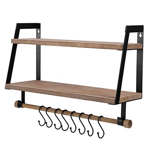 Kakivan 2 Tier Floating Shelves Wall Mount For Kitchen Spice Rack With 8 Hooks Storage Rustic Farmhouse Wood Wall Shelf For Bathroom Dcor With Towel Bar 0