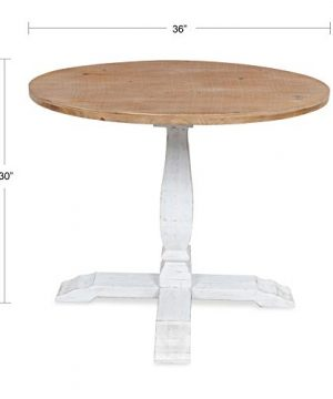 Kate And Laurel Bellmead Wood Round Pedestal Dining Table Natural And White 0 0 300x360
