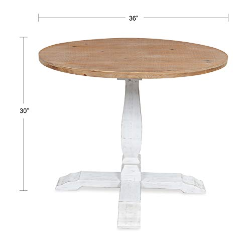 Kate And Laurel Bellmead Wood Round Pedestal Dining Table Natural And White 0 0