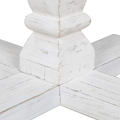 Kate And Laurel Bellmead Wood Round Pedestal Dining Table Natural And White 0 1