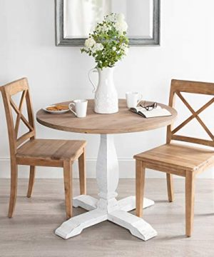Kate And Laurel Bellmead Wood Round Pedestal Dining Table Natural And White 0 2 300x360
