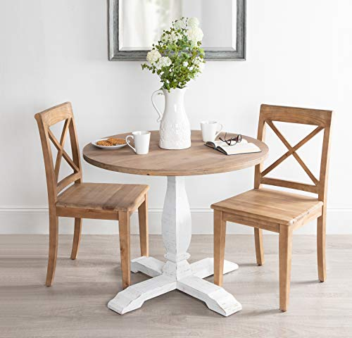 Kate And Laurel Bellmead Wood Round Pedestal Dining Table Natural And White 0 2